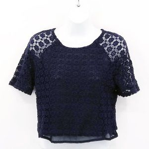 Forever 21 Navy Blue Lace Crop Top Size S
